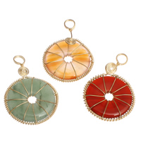Mixed Gemstone Pendants, with Brass, gold color plated, 35x52x6mm, Hole:Approx 6mm, 20PCs/Bag, Sold By Bag