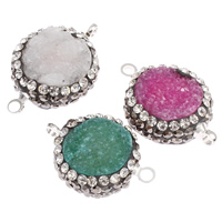 Druzy Connector, Quartz, with Brass, platinum color plated, druzy style & with rhinestone & mixed & 1/1 loop, 18x13x6mm-22x16x7mm, Hole:Approx 2mm, 10PCs/Bag, Sold By Bag