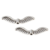 Zinc Alloy Jewelry Beads Angel Wing antique silver color plated nickel lead   cadmium free 26.50x7x3mm Hole:Approx 1mm Approx 909PCs/KG