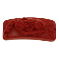 Coral Connectors, Rectangle, 1/1 loop, red, 39x17x13mm, Hole:Approx 1mm, 10PCs/Bag, Sold By Bag