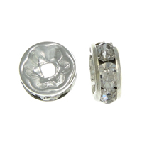 Rhinestone Spacers, Brass, Donut, silver color plated, with rhinestone, nickel, lead & cadmium free, 5x5x2.50mm, Hole:Approx 1.2mm, 500PCs/Bag, Sold By Bag