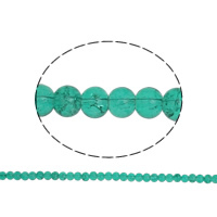 Crackle Glass Beads, Round, dark green, 6mm, Hole:Approx 1.5mm, Length:Approx 31.4 Inch, 10Strands/Bag, Sold By Bag