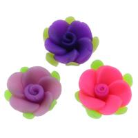 Кабошоны из полимерной глины, полимерный клей, Форма цветка, Связанный вручную, плоской задней панелью, разноцветный, 15x6mm, 100ПК/сумка, продается сумка