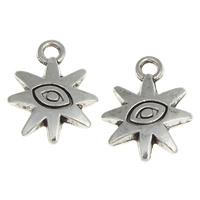 Evil Eye Pendants, Zinc Alloy, Sun, antique silver color plated, evil eye pattern, nickel, lead & cadmium free, 12.50x16x3mm, Hole:Approx 1.5mm, Approx 852PCs/KG, Sold By KG