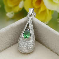 Cubic Zirconia Micro Pave Sterling Silver Pendant, 925 Sterling Silver, Teardrop, platinum plated, micro pave cubic zirconia & faceted, 10.20x25.50mm, Hole:Approx 3x5mm, 5PCs/Lot, Sold By Lot