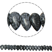 Natural Snowflake Obsidian Beads, Teardrop, 22x31x5mm, Hole:Approx 1mm, Approx 23PCs/Strand, Sold Per Approx 15.5 Inch Strand