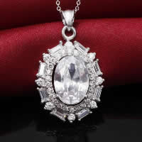 Cubic Zirconia Pendant, 925 Sterling Silver, Flat Oval, platinum plated, with cubic zirconia & faceted, 20x29mm, Hole:Approx 3x5mm, 3PCs/Lot, Sold By Lot