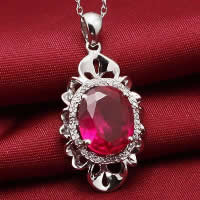 Cubic Zirconia Pendant, 925 Sterling Silver, Flat Oval, platinum plated, with cubic zirconia & faceted, 16x27mm, Hole:Approx 3x5mm, 3PCs/Lot, Sold By Lot