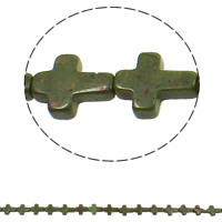 Ruby in Zoisite Beads, Cross, 12x16x5mm, Hole:Approx 1mm, Approx 25PCs/Strand, Sold Per Approx 16.5 Inch Strand