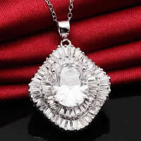 Cubic Zirconia Pendant, 925 Sterling Silver, Rhombus, platinum plated, with cubic zirconia & faceted, 21x25mm, Hole:Approx 3x5mm, 2PCs/Lot, Sold By Lot
