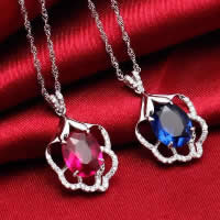 Cubic Zirconia Pendant, 925 Sterling Silver, Flower, platinum plated, with cubic zirconia & faceted & hollow, more colors for choice, 14x21mm, Hole:Approx 3x5mm, 3PCs/Lot, Sold By Lot