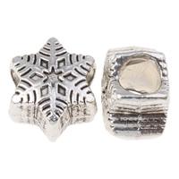 Pandor Kerst Kralen, Zinc Alloy, Sneeuwvlok, antiek zilver plated, Kerst sieraden & zonder troll, nikkel, lood en cadmium vrij, 9.5x7mm, Gat:Ca 4mm, Ca 606pC's/KG, Verkocht door KG