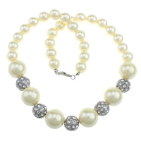 Ожерелья из стекла, Стеклянный жемчуг, с цинковый сплав, Платиновое покрытие платиновым цвет, со стразами, 18mm, 14mm, 12mm, длина:Приблизительно 20 дюймовый, 10пряди/Лот, продается Лот