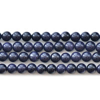 Natural Blue Goldstone Beads, Round, different size for choice, Length:Approx 14.2 Inch, Sold By Lot