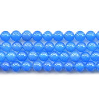 Natural Blue Agate Beads, Round, different size for choice, Length:Approx 15 Inch, Sold By Lot