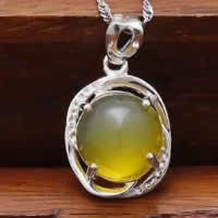 Natural Jade Pendants 925 Sterling Silver with Yellow Calcedony Flat Oval platinum plated 12x14mm Hole:Approx 3x5mm 10PCs/Lot