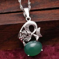 Natural Jade Pendants 925 Sterling Silver with Green Calcedony Dragon platinum plated 12x18mm Hole:Approx 3x5mm 10PCs/Lot