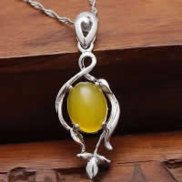 Natural Jade Pendants 925 Sterling Silver with Yellow Calcedony platinum plated hollow 13x29mm Hole:Approx 3x5mm 10PCs/Lot