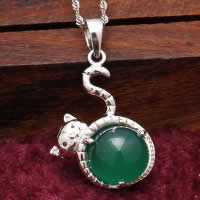 Natural Jade Pendants 925 Sterling Silver with Green Calcedony Cat platinum plated 17x21mm Hole:Approx 3x5mm 5PCs/Lot