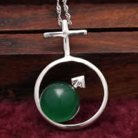 Natural Jade Pendants 925 Sterling Silver with Green Calcedony Flat Round platinum plated with cross pattern 19x30mm Hole:Approx 3x5mm 5PCs/Lot