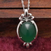 Natural Jade Pendants 925 Sterling Silver with Green Calcedony Flat Oval platinum plated 14x25mm Hole:Approx 3-5mm 5PCs/Lot