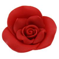 Бусины из полимерной глины, полимерный клей, Форма цветка, Связанный вручную, красный, 40x13mm, отверстие:Приблизительно 2mm, 100ПК/сумка, продается сумка
