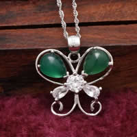 Natural Jade Pendants 925 Sterling Silver with Green Calcedony Butterfly platinum plated with cubic zirconia   hollow 21x18mm Hole:Approx 3x5mm 5PCs/Lot