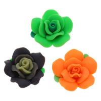 Бусины из полимерной глины, полимерный клей, Форма цветка, Связанный вручную, разноцветный, 30x15mm, отверстие:Приблизительно 1mm, 100ПК/сумка, продается сумка