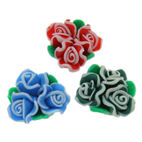 Бусины из полимерной глины, полимерный клей, Форма цветка, Связанный вручную, разноцветный, 20x10mm, отверстие:Приблизительно 1mm, 100ПК/сумка, продается сумка