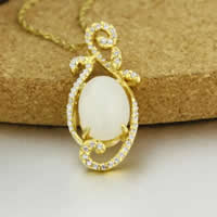 925 Sterling Silver Pendant with Hetian Jade Flat Oval real gold plated micro pave cubic zirconia 15x31mm Hole:Approx 3-5mm 3PCs/Lot