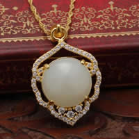 925 Sterling Silver Pendant with Hetian Jade Teardrop real gold plated micro pave cubic zirconia 18x22mm Hole:Approx 3x5mm 2PCs/Lot