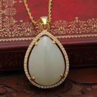 925 Sterling Silver Pendant with Hetian Jade Teardrop real gold plated micro pave cubic zirconia 20x26mm Hole:Approx 3x5mm 2PCs/Lot