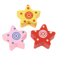 Wood Beads, Star, printing, mixed colors, 14x14x8mm, Hole:Approx 2mm, Approx 830PCs/Bag, Sold By Bag