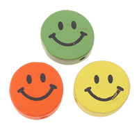 Wood Beads, Smiling Face, printing, mixed colors, 17x6mm, Hole:Approx 2mm, Approx 500PCs/Bag, Sold By Bag