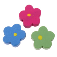 Wood Beads, Flower, mixed colors, 15x15x6mm, Hole:Approx 2mm, Approx 830PCs/Bag, Sold By Bag
