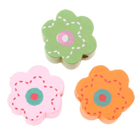 Wood Beads, Flower, printing, mixed colors, 15x15x6mm, Hole:Approx 2mm, Approx 830PCs/Bag, Sold By Bag