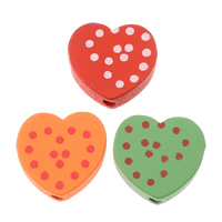 Wood Beads, Heart, printing, with round spot pattern, mixed colors, 17x17x6mm, Hole:Approx 2.5mm, Approx 710PCs/Bag, Sold By Bag