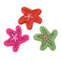 Wood Beads, Starfish, printing, with round spot pattern, mixed colors, 30.50x29.50x4mm, Hole:Approx 2mm, Approx 415PCs/Bag, Sold By Bag