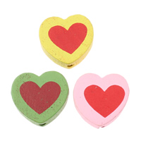 Wood Beads, Heart, printing, mixed colors, 18x16.50x6mm, Hole:Approx 2mm, Approx 710PCs/Bag, Sold By Bag