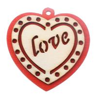 Zawieszki z drewna, Drewno, Serce, słowo miłość, czerwony, 43x44x5mm, otwór:około 2.5mm, 200komputery/torba, sprzedane przez torba