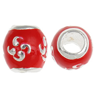 925 Sterling Silver European Beads, Drum, without troll & enamel, red, 8x8mm, Hole:Approx 4mm, 20PCs/Bag, Sold By Bag
