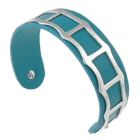 316L Stainless Steel Cuff Bangle with Cowhide blue 19mm 62.5x48mm Length:Approx 7.8 Inch