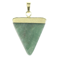 Natural Aventurine Pendants, Green Aventurine, with Brass, Triangle, gold color plated, nickel, lead & cadmium free, 25x35x4mm, Hole:Approx 5x7mm, 10PCs/Bag, Sold By Bag