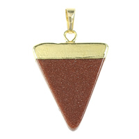 Natural Goldstone Pendants, with Brass, Triangle, gold color plated, nickel, lead & cadmium free, 25x35x4mm, Hole:Approx 5x7mm, 10PCs/Bag, Sold By Bag