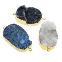 Druzy Connector, Ice Quartz Agate, with Brass, gold color plated, druzy style & mixed & 1/1 loop, 27x45x9mm-33x52x13mm, Hole:Approx 2mm, 10PCs/Bag, Sold By Bag