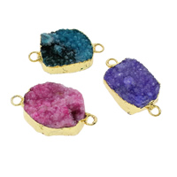 Druzy Connector Ice Quartz Agate with Brass gold color plated druzy style   mixed   1/1 loop 19x33x9mm-21x37x13mm Hole:Approx 3mm 10PCs/Bag