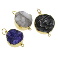 Druzy Connector Ice Quartz Agate with Brass gold color plated druzy style   mixed   1/1 loop 21x28x7mm-26x37x10mm Hole:Approx 2mm 10PCs/Bag