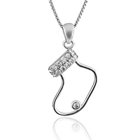 Cubic Zirconia Micro Pave Sterling Silver Pendant, 925 Sterling Silver, Christmas Sock, micro pave cubic zirconia & hollow, 14x26mm, Hole:Approx 3mm, 3PCs/Lot, Sold By Lot
