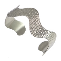 Stainless Steel Cuff Bangle, hammered, original color, 14mm, Inner Diameter:Approx 62x51mm, Length:Approx 7 Inch, Sold By PC
