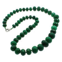 Dyed Marble Necklace, zinc alloy lobster clasp, Rondelle, faceted, green, 10-16mm, Sold Per Approx 20.5 Inch Strand